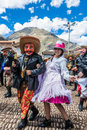 Virgen del carmen parade peruvian andes pisac peru july in the at on july th Royalty Free Stock Photo