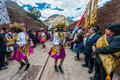 Virgen del carmen parade peruvian andes pisac peru july in the at on july th Royalty Free Stock Image
