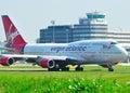 Virgin Atlantic Jumbo 747 Royalty Free Stock Photo