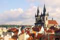 Virgin Maria Tyn church and roofs of Prague Royalty Free Stock Photos