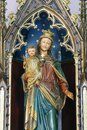 Virgin Mary with baby Jesus statue on the altar Mary Queen of the Holy Rosary at Holy Trinity Church in Krapinske Toplice, Croatia Royalty Free Stock Photo