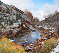 The virgin river in winter snow on banks of zion national park utah usa Royalty Free Stock Image