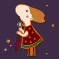 Virgo file contains images of cartoon girl with pocket mirror funny zodiac single scrap booking style Stock Image