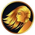 Virgo, golden zodiac sign, vector horoscope symbol