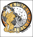 Virgo zodiac sign horoscope circle vector illustra the girl in the greek chiton and flowing hair standing around her of signs of Stock Photos