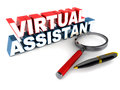 Virtual assistant va or words with magnifying glass and a ball point pen on clean surface Stock Image