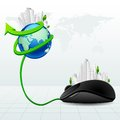 Virtual city vector illustration of building around globe with mouse Stock Photos