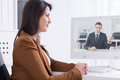 Virtual colleagues during morning brief Royalty Free Stock Photo