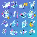 Virtual Communication Isometric Icons Royalty Free Stock Photo