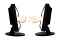 Virtual game by internet hand shape of paper scissors stone on white background - internet business concept.