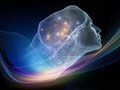 Virtual intellect next generation ai series composition of fusion of human head and fractal shape suitable as a backdrop for the Stock Photography