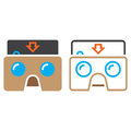 Virtual reality cardboard glasses line icon, outline and solid v