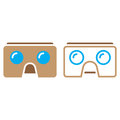 Virtual reality cardboard glasses line icon, vr headset outline