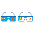 Virtual reality eyeglasses line icon, outline and solid vector s