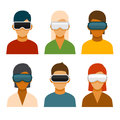 Virtual Reality Glass Avatar Set. Vector