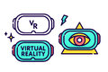 Virtual reality glasses headset gadget vector logo template illustration set