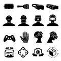 Virtual reality and headset glasses vector icons. Simulation game and vr computer sensor device symbols