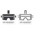 Virtual reality headset line icon, outline and solid vector sign