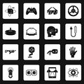 Virtual reality icons set squares vector