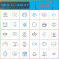 Virtual reality line icons set. Innovation technologies, AR glasses, Head-mounted display, VR gaming device. Modern flat line desi