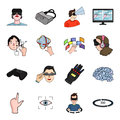 Virtual reality set icons in cartoon style. Big collection of virtual reality vector symbol stock illustration