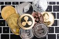 Virtual ripple XRP, Ethereum and Bitcoin coins currency finance