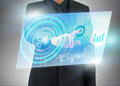 Virtual social media touch screen businessman press Royalty Free Stock Photography