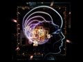 Virtualization of consciousness composition outlines human head technological and fractal elements suitable as a backdrop for the Royalty Free Stock Photo