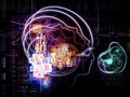 Virtualization of consciousness composition outlines human head technological and fractal elements suitable as a backdrop for the Stock Photos