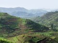 Virunga mountains aerial view around the in uganda africa Royalty Free Stock Photo