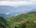 Virunga mountains aerial view around the in uganda africa in stormy ambiance Royalty Free Stock Images