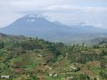 Virunga mountains in uganda aerial view around the africa Royalty Free Stock Image