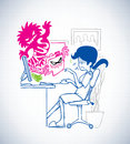 Virus attack while lady sit in front of computer sketch style Stock Photo