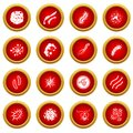 Virus bacteria icon red circle set