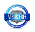 Virus free seal or shield illustration design over white Stock Images
