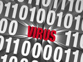 Virus hidden in the data a small red is buried deep a field of binary s and s Royalty Free Stock Photos