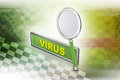 Virus text with magnifier in color background Royalty Free Stock Images