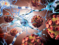 Viruses attacking nerve cells concept for neurologic diseases tumors Royalty Free Stock Photos