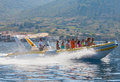 Vis croatia august tourists on taxi speed boat on the way to the island of bisevo to see the blue cave Stock Images