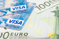 Visa credit cards and euro banknotes bucharest romania december over european union official Royalty Free Stock Image