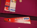 Visa debit card zagreb croatia march photo of electron in wallet and other cards in background electron is an international Royalty Free Stock Images