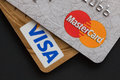 Visa and mastercard payment cards Stock Photos