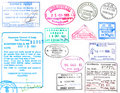 Visa and passport stamps Royalty Free Stock Photos