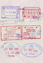Visa stamps on passport Royalty Free Stock Photography