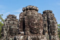 Visages de temple de bayon angkor cambodge Photo libre de droits