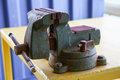 Vise tool in workshop or the garage for support hard work, Special tools for industry job, vise stand on the table with other Royalty Free Stock Photo