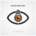 Vision and creative light bulb idea concept eye symbol business abstract background vector illustration Royalty Free Stock Photography
