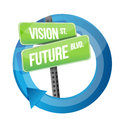 Vision and future road sign cycle illustration design over white Royalty Free Stock Images