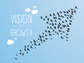 Vision for growth and illustration birds and clouds Stock Images