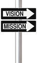 Vision and mission conceptual one way street signs on a pole indicating Royalty Free Stock Image
